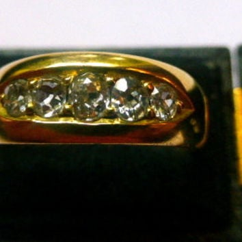 Antique Old Mine Cushion Cut Diamond Ring 18kt Yellow Gold 5 Stone Anniversary Wedding Band Ring, Right Hand Ring Victorian 1800's