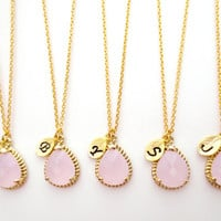 Set of 5-10 Ice pink, Ice, pink, Initial, Necklace, Bridesmaid, Initial, Glass, Drop, Single, Pendant, Necklaces, 5-10 Bridesmaids, Necklace
