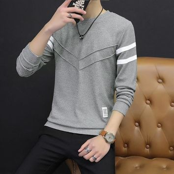 2018 New Spring Turtleneck Stripe Sweatshirts Slim Men Longsleeve Sweatshirts