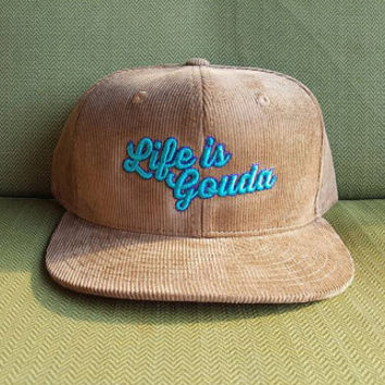 "String Cheese Incident ""Life is Gouda"" tan corduroy snap back hat"
