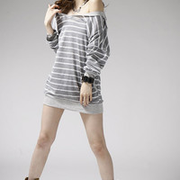 Trendy Striped Women Batwing Sleeve Loose T-shirt Top Two Colors