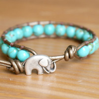 Elephant wrap bracelet, boho chic, good luck, Teal Green Magnesite, hipster, gift idea, lucky jewelry