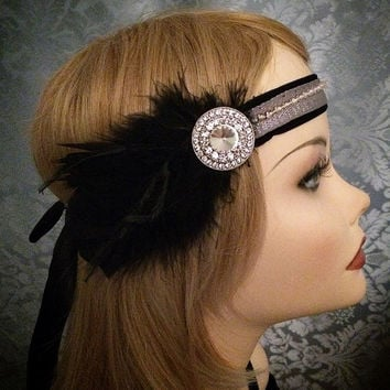 Crystal Black Velvet Rhinestone Black Silver Round Brooch Art Deco Flapper Gatsby Feather ostrich Headband Wrap Head 1920s 20s roaring style