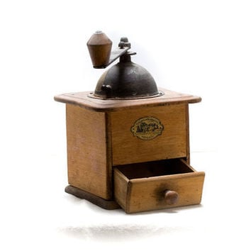 Antique coffee grinder - wooden coffee mill