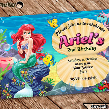 On SALE The Little Mermaid Birthday Invitation Printable - Ariel Disney Mermaid Princess - Mermaid Theme - Printable - Personalized