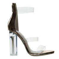 Mono10 RoseGold Perspex Round Block Heel Sandal w Clear Triple Strap. Transparence Lucite