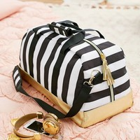 The Emily & Meritt Black/White Stripe Duffle