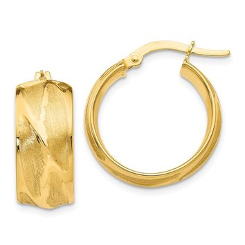 14K Yellow Gold Textured Small Round Hoop Earrings