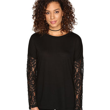 Jack by BB Dakota Juleen Soft Knit Top w/ Lace Back and Sleeves