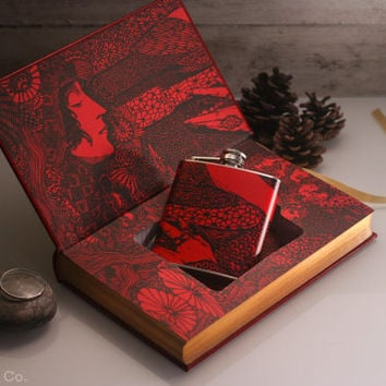 Hollow Book Safe and Hip Flask- Edgar Allan Poe - Tales of Mystery and Imagination (LEATHER BOUND)