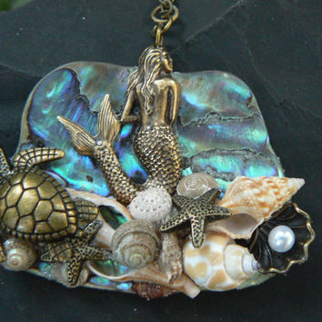 Mermaid abalone necklace mermaid jewelry statement necklace  sea turtle necklace siren resort cruise wear beach wear high fashion gypsy boho