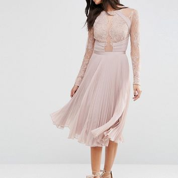 ASOS WEDDING Pretty Lace Eyelash Pleated Midi Dress at asos.com