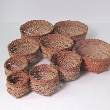 Miniature Woven Baskets Bountiful of Baskets Vintage Hand Woven Sweet Grass Set of 9