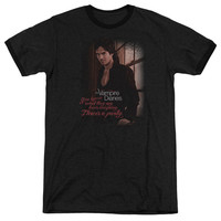Vampire Diaries Threes A Party Black Ringer T-Shirt