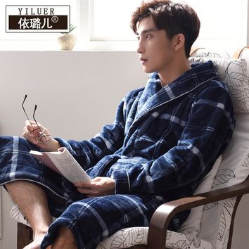 Nightgown male winter coral floss thick long paragraph flannel robes men pajamas large expression autumn and winter