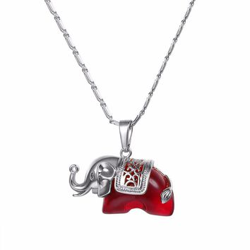 U7 Red Crystal Elephant Pendant Necklace Gold/Silver Color Women Jewel