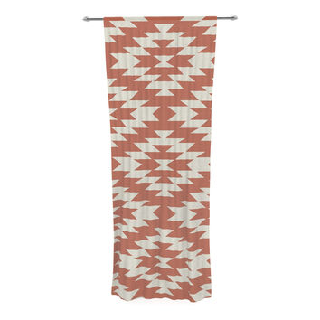 "Amanda Lane ""Southwestern Toasted Coral"" Red Tribal Decorative Sheer Curtain"