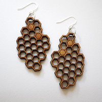 Laser Cut Cherry Wood Honeycomb Earrings