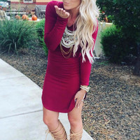 LONG WINTER AHEAD DRESS IN WINE