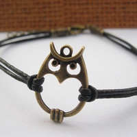 braceletantique bronze owl pendant & brown leather by lightenme