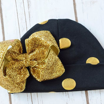 Hospital Hat, Baby Girl Hospital Hat, Newborn Hat with Bow, Newborn Hat Girl, Toddler Hat, Gold Hat, Beanie Hat, Baby Hats, Newborn Hat