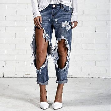Women Hole Destroyed Ripped Distressed Slim Denim Full Length Pants Boyfriend Jeans Lot Pop