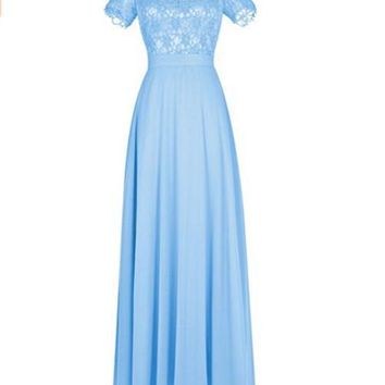 Ubridal Women's Long Lace Bridesmaid Dress Short Sleeves Prom Evening Dress