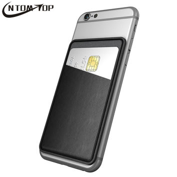 Ultra Thin Leather Self Adhesive Credit Card Holder Sticker Wallet Pouch Case Sleeve Universal for iPhone Samsung LG Smartphone