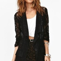 Ruched Lace Blazer