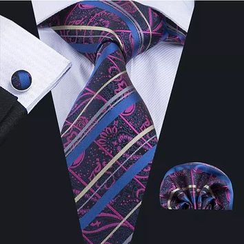 Men's Silk Coordinated Tie Set - Rose Blue Striped