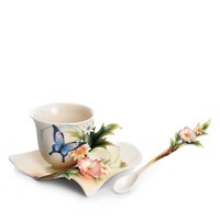 Franz Collection Fluttering Beauty Flower and Butterfly Cup & Saucer with Spoon