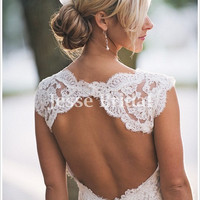 Open back sexy classic lace wedding Dress Bridal Gown