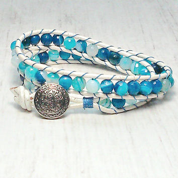 Double Wrap Bracelet - Wrap Around - Blue Wrap Bracelet - Boho Bracelet - Beaded Bracelet - Gifts For Her - Leather Wrap Bracelet
