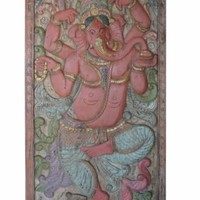 COLORFUL INDIA Wall Door PANEL Vintage Carved Ganesha Wall Sculpture BOHO SHABBY