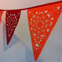 Wedding banner, red orange garland, fabric bunting