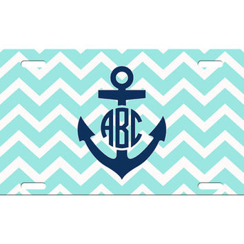 Custom Personalized License Plate Car Tag Preppy Chevron Stripe Anchor Circle Monogram Sorority Girls Gift Aluminum Front Car Plate LP-1011