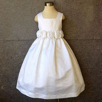 "The ""Marianne"" Vintage Rustic Flower Girl & Tween Rosette Dress"