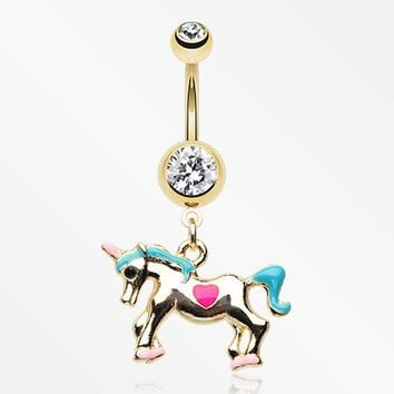 Golden Unicorn Princess Belly Button Ring