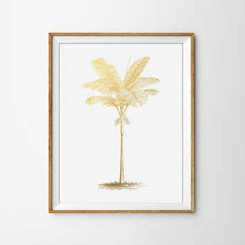 Palm Tree Print - Faux Gold Foil, Summer Decor, Summer Print, Home Decor, Office Print, Chic, Preppy, Bedroom Decor, Nature Print