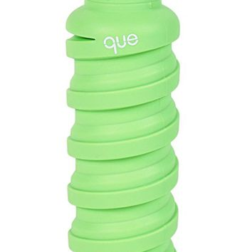 Collapsible Water Bottle - BPA-Free, Leak Proof, Lightweight 20oz Eco - Friendly Reusable Silicone Travel Sports Camping Water Bottle by que Bottle
