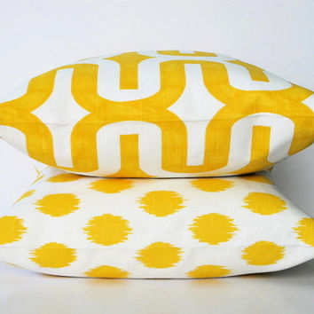 "Handmade Pillow Covers 26"" Euro Shams MODERN Premier Prints Throw Pillows yellow TWO 26 inch Accent Pillows"