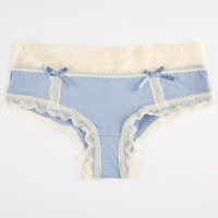 Modal Lace Boyshorts Blue  In Sizes