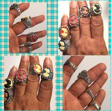 Sliver Vintage Cameo Rings Sliver /Free Shipping