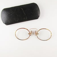 Antique Spectacles: Tortoise Shell Pince Nez with Original Case