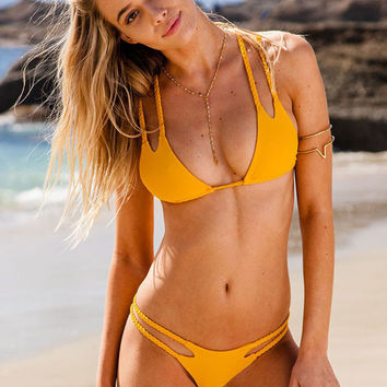 Hot Retro Yellow Bikini Set  Swimsuits