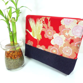 Large Cosmetic Pouch, Handmade Travel Pouch,Unique Gift Ideas,Padded Cosmetic Bags Japanese Kimono Cotton Fabric Golden Crane Red