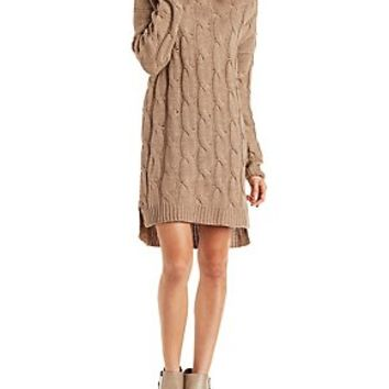 SLOUCHY TURTLENECK CABLE KNIT SWEATER DRESS