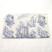 Doctor Who Toile Fabric Zipper Pouch / Pencil Case / Make Up Bag / Gadget Pouch