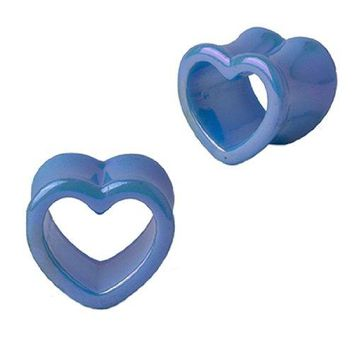 Plugs Acrylic Glossy Light Blue Heart Tunnel, Gauges Plugs 2G-14mm (2 Pieces)