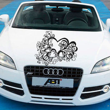Car Hood Vinyl Decal Graphics Stickers Art Mural Hearts Floral Ornament KJ1241